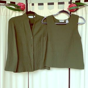 VINTAGE- GREEN SCRUNCH TANK AND SWEATER SET SMALL